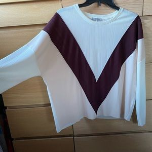 White, wine and pink long sleeve